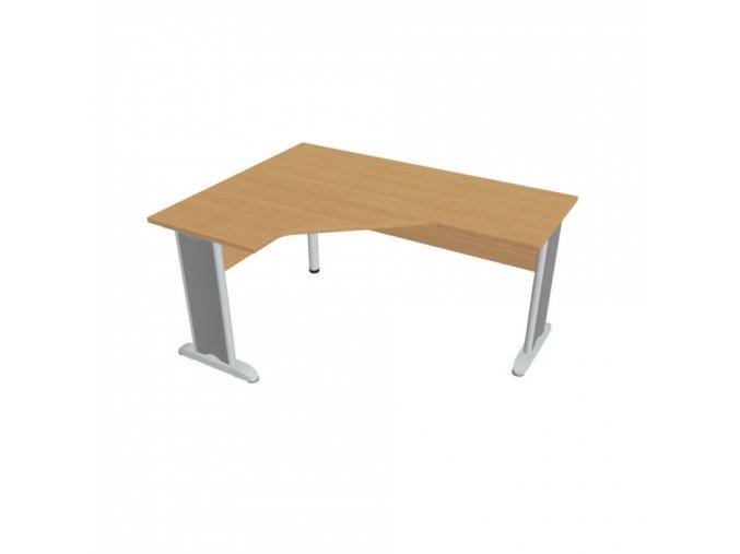 Rohový kancelářský psací stůl SELECT, kovové nohy, 1600 x 1200 mm, pravý, buk