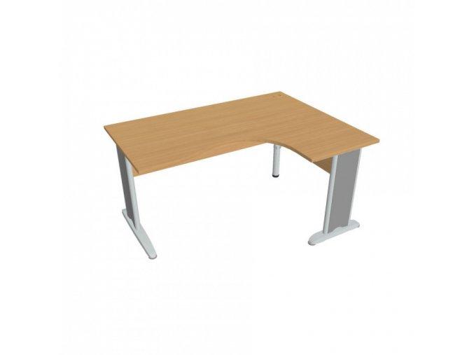 Rohový ergonomický kancelářský psací stůl SELECT, kovové nohy, 1600 x 1200 mm, levý, buk