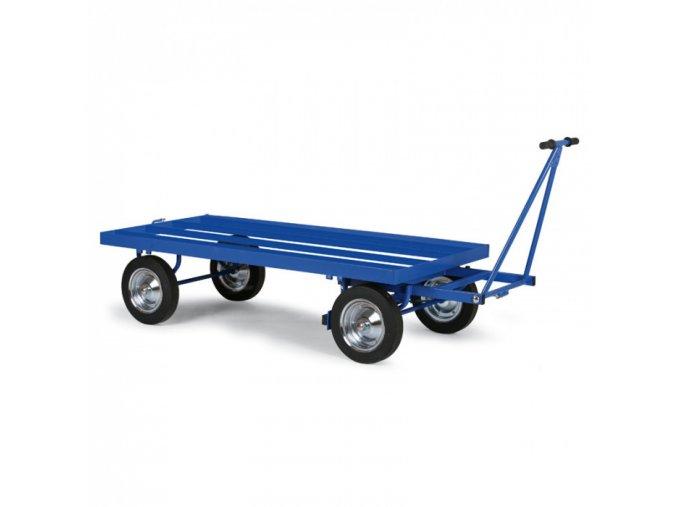 Plošinový vozík s ojí, výplň ocelové profily, dušová kola