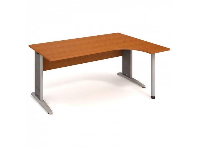 Rohový ergonomický kancelářský psací stůl SELECT, 1600 x 1200 mm, levý, třešeň