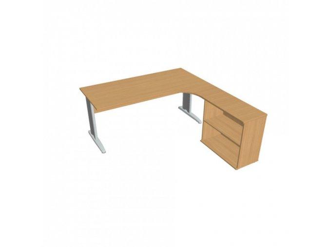 Rohový kancelářský psací stůl SELECT s policemi, 1800 x 2000 mm, levý, buk