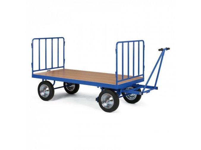 Plošinový vozík s ojí, 2x mřížové bočnice, dušová kola
