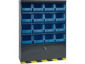 Skříňky s plastovými boxy a přihrádkou, 16 boxů