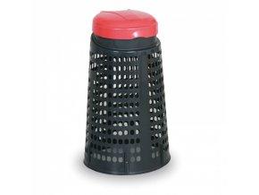 Plastový odpadkový koš na 120 L pytle, černý, červené víko