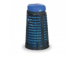 Plastový odpadkový koš na 120 L pytle, černý, modré víko
