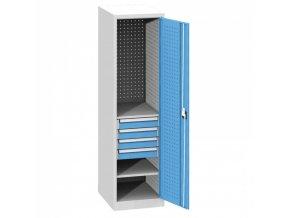 Zásuvková skříň KOVO, 2x police, 4x zásuvka