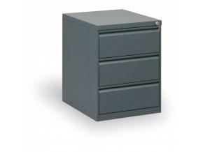 Kovová kartotéka/lístkovnice A5, 3 zásuvky, antracit