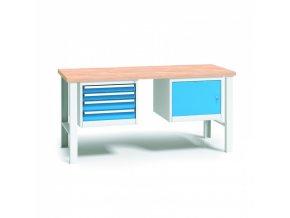 Dílenský stůl WL - buková spárovka, 1700x685x840 mm, 1x 4 zásuvkový kontejner, 1x skříňka