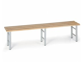 Šatní lavička, sedák - latě, šedé nohy, 2000 mm