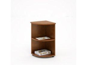 Kancelářský rohový regál EXPRESS, 372 x 372 x 800 mm, tmavý ořech