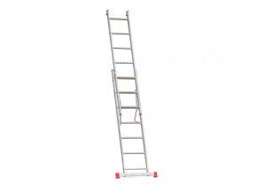 Hliníkový dvoudílný výsuvný víceúčelový žebřík HOBBY, 2x7 příček, 3,1 m