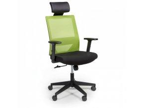 Kancelářská židle se síťovaným opěrákem WOLF, nastavitelné područky, plastový kříž, zelená