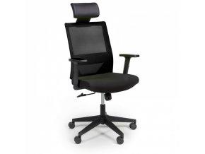 Kancelářská židle se síťovaným opěrákem WOLF, nastavitelné područky, plastový kříž, černá
