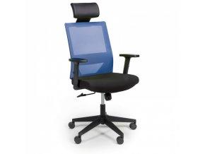 Kancelářská židle WOLF, nastavitelné područky, plastový kříž, modrá