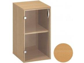 Nízká kancelářská skříňka CLASSIC - dveře levé, 400 x 458 x 735 mm, buk