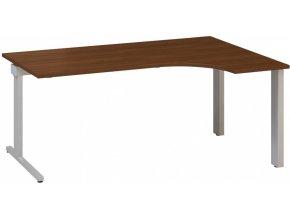 Rohový kancelářský psací stůl CLASSIC C, pravý, ořech