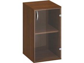 Kancelářská skříňka s prosklenými dveřmi CLASSIC - pravé , 400 x 458 x 735 mm, ořech
