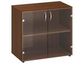 Kancelářská skříňka s prosklenými dveřmi CLASSIC, 800 x 458 x 735 mm, ořech