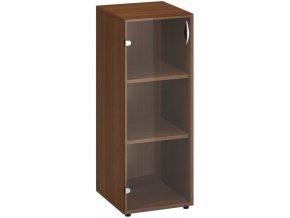 Kancelářská skříň s prosklenými dveřmi CLASSIC - dveře levé, 400 x 458 x 1063 mm, ořech