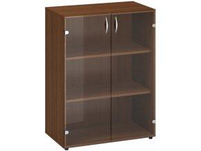 Kancelářská skříň s prosklenými dveřmi CLASSIC, 800 x 458 x 1063 mm, ořech