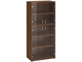 Kancelářská skříň s prosklenými dveřmi CLASSIC, 800 x 458 x 1780 mm, ořech