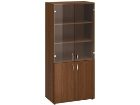 Kancelářská skříň s dveřmi ze skla/dřeva CLASSIC, 800 x 470 x 1780 mm, ořech