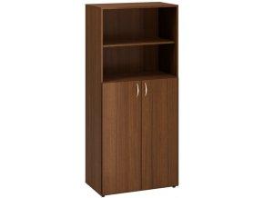 Kancelářská skříň s nikou CLASSIC, 800 x 470 x 1780 mm, ořech