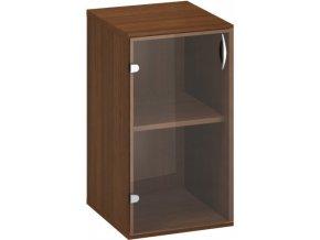 Nízká kancelářská skříň s prosklenými dveřmi CLASSIC, 1 police, 400 x 458 x 735 mm, ořech
