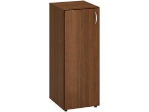 Úzká kancelářská skříň se dvěma policemi CLASSIC - dveře levé, 400 x 470 x 1063 mm, ořech