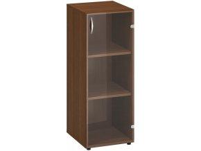 Úzká kancelářská skříňka se dvěma policemi, prosklené dveře, CLASSIC, 400 x 458 x 1063 mm, ořech