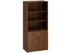Kombinovaná kancelářská skříň CLASSIC, 800 x 470 x 1780 mm, ořech
