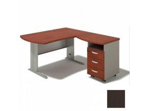 Rohový psací stůl BERN s kontejnerem - délka 1600 mm, kovová podnož, wenge