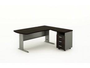 Rohový kancelářský psací stůl BERN s kontejnerem, kovová podnož, 2200 x 1600 mm, pravý, wenge