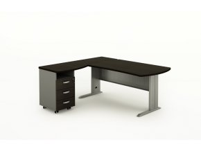 Rohový kancelářský psací stůl BERN s kontejnerem, kovová podnož, 1400 x 1600 mm, levý, wenge