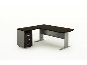 Rohový psací stůl BERN s kontejnerem - délka 1400 mm, kovová podnož, wenge