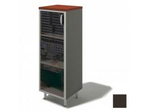 Skříň se sekleněnými dveřmi BERN PLUS, levá, 450 x 430 x 1292 mm, wenge
