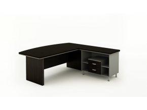 Rohový kancelářský pracovní stůl BERN PLUS s úložným prostorem, 2000 x 2050 mm, levý, wenge