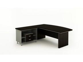 Rohový kancelářský pracovní stůl BERN PLUS s úložným prostorem, 2000 x 2050 mm, pravý, wenge