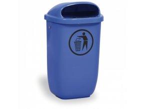 Venkovní odpadkový koš na sloupek DINO, modrý