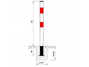 Parkovací zábrana - sloupek, nesklopný, k zabetonování, bílý