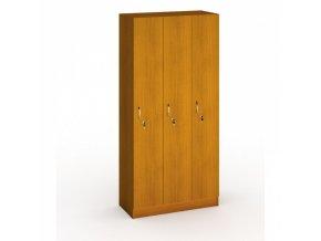 Dřevěná šatní skříňka, 3 oddíly, 1900x900x420 mm, třešeň