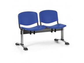 Plastová lavice do čekáren ISO, 2-sedák, modrá, chrom nohy