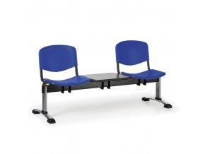 Plastová lavice do čekáren ISO, 2-sedák, se stolkem, modrá, chrom nohy