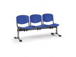 Plastová lavice do čekáren ISO, 3-sedák, modrá, chrom nohy