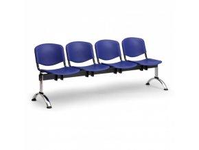Plastová lavice do čekáren ISO, 4-sedák, modrá, chrom nohy