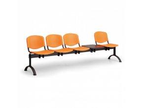 Plastová lavice do čekáren ISO, 4-sedák, se stolkem, modrá, černé nohy