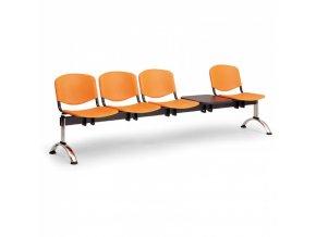 Plastová lavice do čekáren ISO, 4-sedák, se stolkem, modrá, chrom nohy