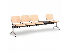 Dřevěná lavice do čekáren ISO, 4-sedák, se stolkem, chrom nohy