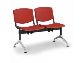 Plastová lavice do čekáren SMILE, 2-sedák, červená