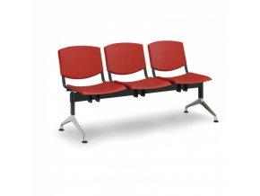 Plastová lavice do čekáren SMILE, 3-sedák, červená
